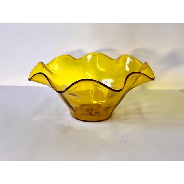 Boho Chic Midcentury Amber Art Glass Handkerchief Bowl For Sale - Image 3 of 11