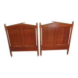 Regency Style Pine Faux Bamboo Twin Size Headboards - a Pair For Sale