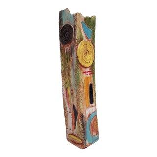 1980s Brutalist Hand-Painted Cubist Shape Pottery Vase