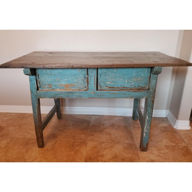 Rustic 19th Centuy Spanish Distressed Painted Table For Sale In Dallas - Image 6 of 13