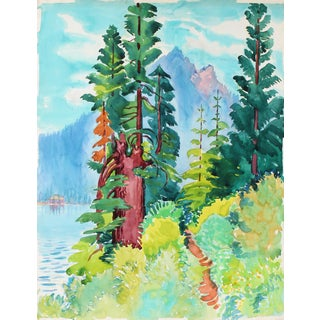 """Mary Pomeroy """"Trail to Indian Rock Ii"""" Vibrant Watercolor on Paper August 1972 For Sale"""