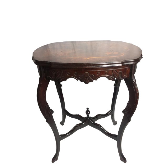 Marquetry Wood Inlay French Provincial Side Table For Sale