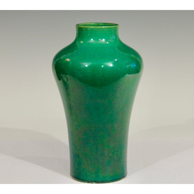 Art Nouveau Antique 1910s Awaji Art Nouveau Studio Pottery Meiping Organic Green Monochrome Vase For Sale - Image 3 of 11