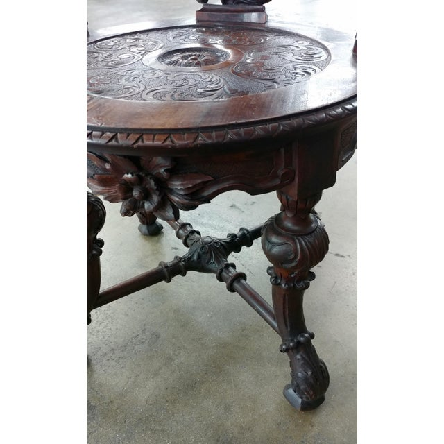18th century Italian Renaissance round back Arm Chair w/carved reclining figures - Image 5 of 10