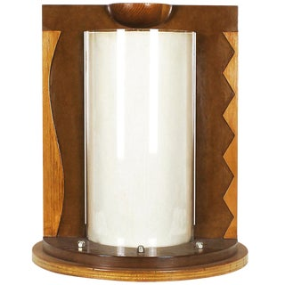 1980 Table Lamp, Mdf, Beech and Pine Woods, Plexiglass and Parchment - Spain For Sale