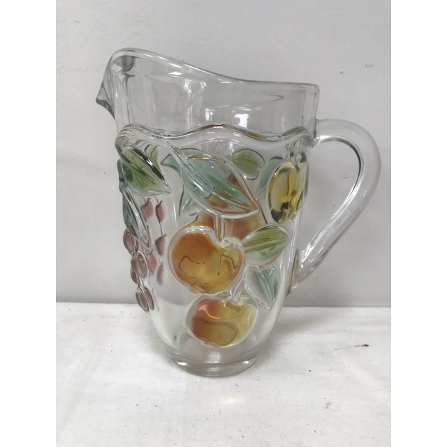 Vintage Glass Pitcher Colored Glass Fruits For Sale - Image 4 of 5