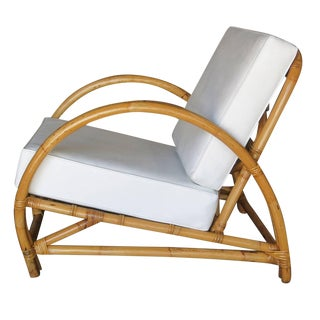 Restored Arch Deluxe Rattan Two Strand Lounge Chair For Sale