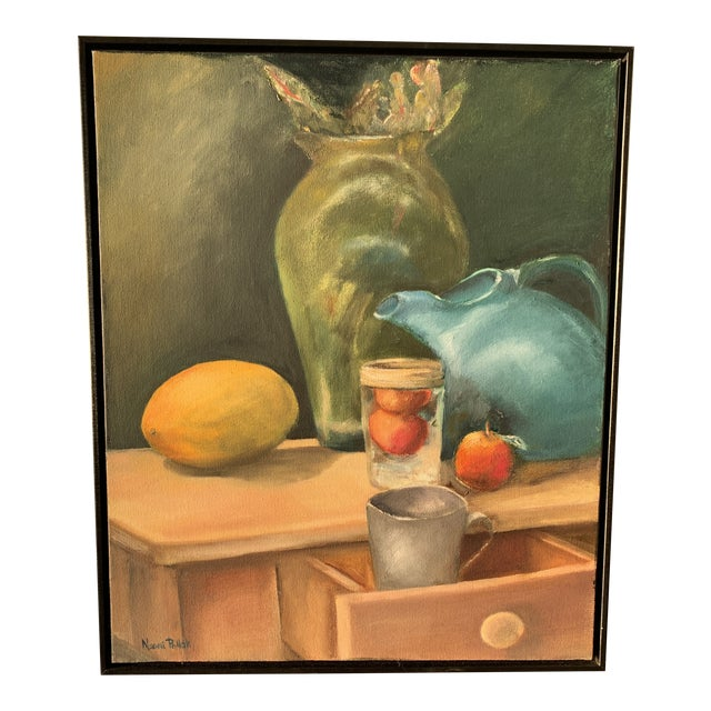 Still Life Painting With Lemon and Pitcher For Sale