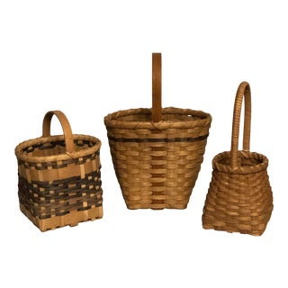 Vintage Handmade Rustic Style Baskets - Set of 3 For Sale