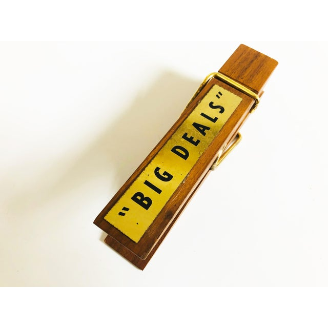 Mid 20th Century Vintage Wood Note Clip For Sale - Image 5 of 6
