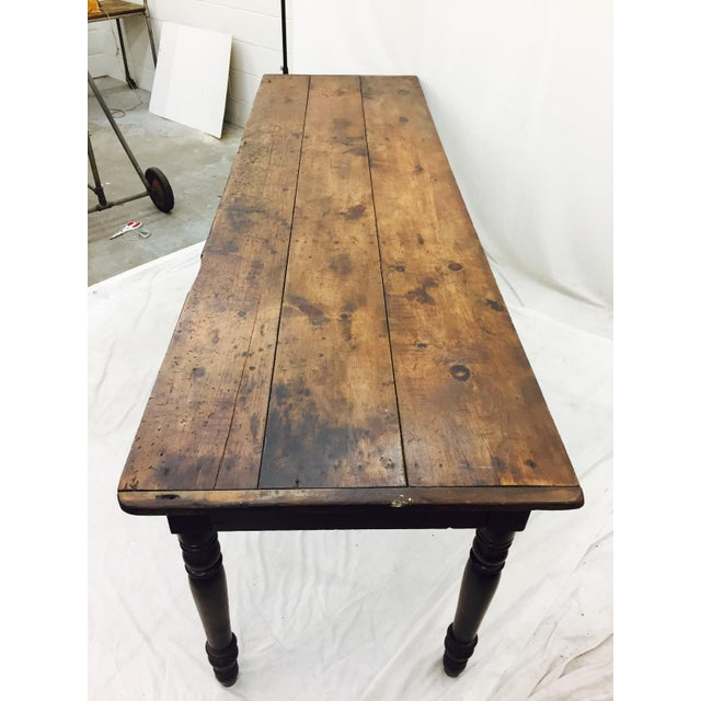 Antique Harvest Farm Table For Sale In Raleigh - Image 6 of 11