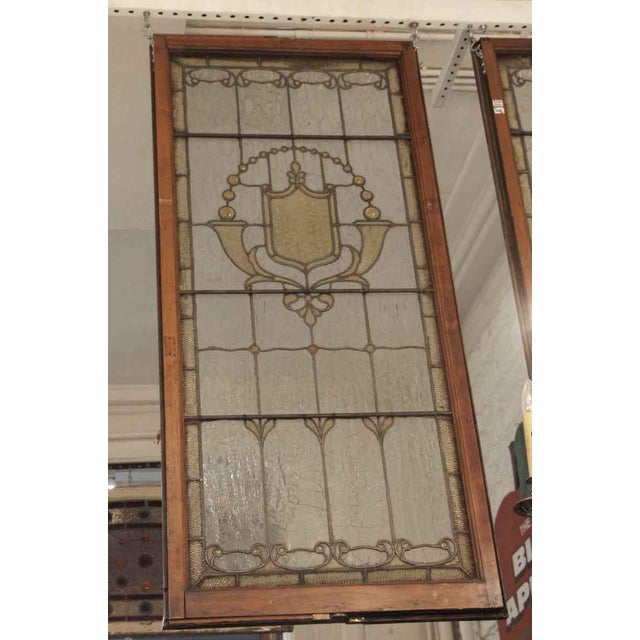 Wood Vintage Mid Century Jeweled Stained Glass Windows- A Pair For Sale - Image 7 of 11