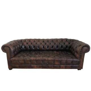 Antique Leather Chesterfield Sofa For Sale