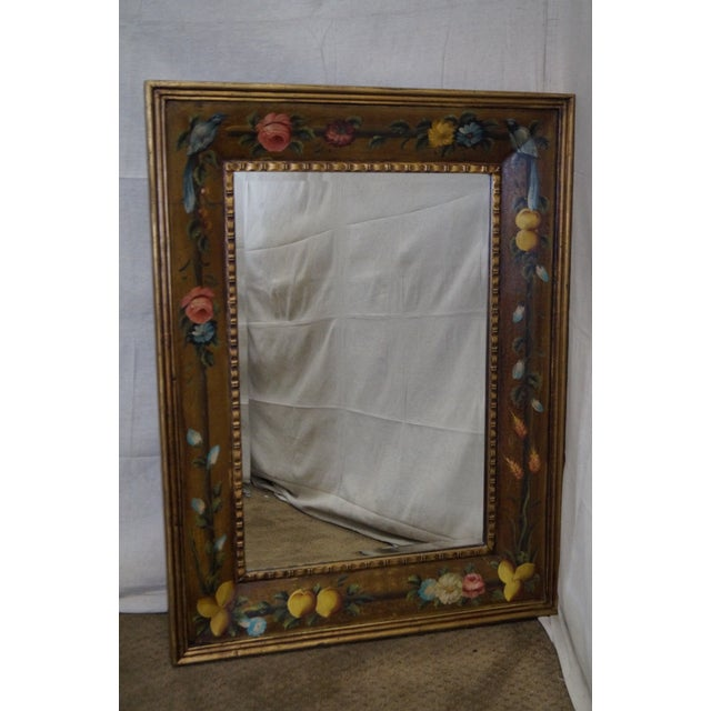 Floral Hand Painted Gilt Frame Beveled Wall Mirror - Image 2 of 10