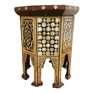 Antique Inlaid Tabouret Tea Table For Sale