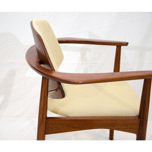 Wood Set of Six Danish Teak Dining Chairs, Arne Hovmand Olsen For Sale - Image 7 of 13