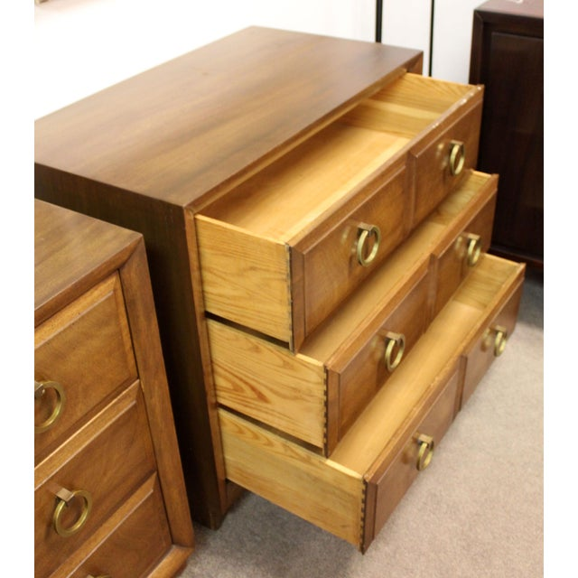 1950s Mid-Century Modern Robsjohn Gibbings Wood Brass Gentleman Chests -a Pair For Sale - Image 5 of 8