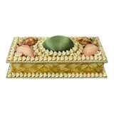 Image of Shell Encrusted Rectangular Keepsake Box With Green Silk Lid For Sale