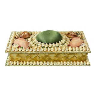Shell Encrusted Rectangular Keepsake Box With Green Silk Lid For Sale