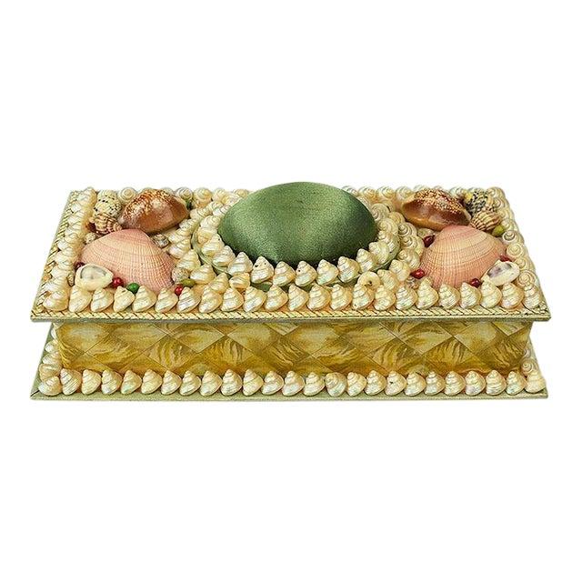 Shell Encrusted Rectangular Keepsake Box With Green Silk Lid For Sale