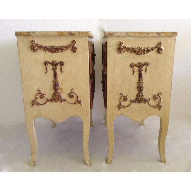 Italian Venetian Parcel Gilt Night Tables - a Pair For Sale - Image 4 of 10