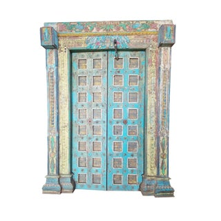 Antique Doors Om Indian Blue Yellow Teak Iron Haveli Architecture For Sale