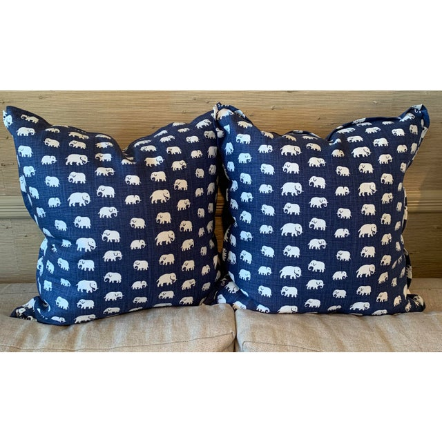 """""""Elephant"""" linen pillow with 50/50 down/feather insert. Flange detail and hidden zipper"""
