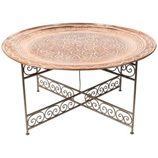 1940s Moroccan Round Metal Tray Table on Iron Base For Sale