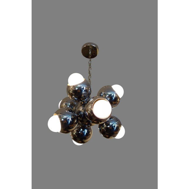 Chrome Mid-Century Eight-Light Chrome Sputnik Chandelier For Sale - Image 7 of 7