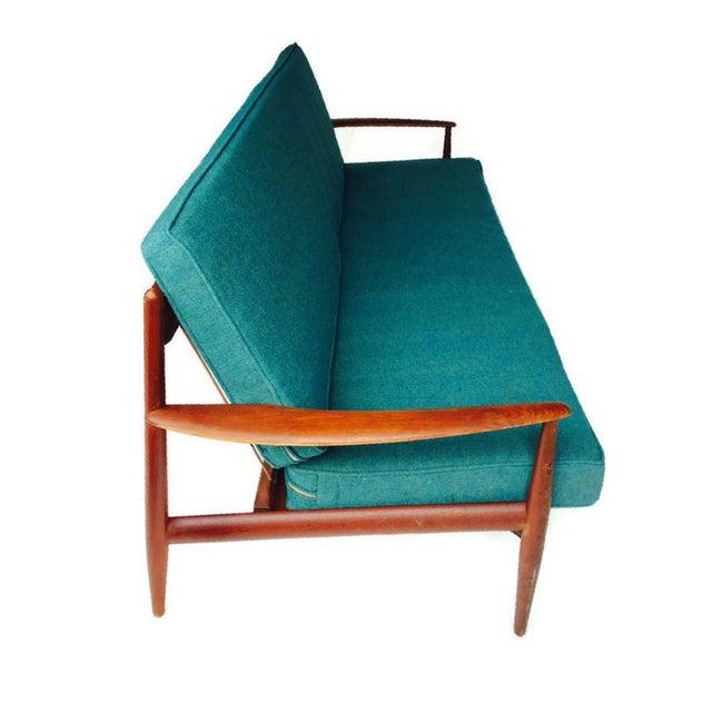 Mid-Century Modern Danish Teak Sofa Turquoise Cushions For Sale - Image 9 of 10