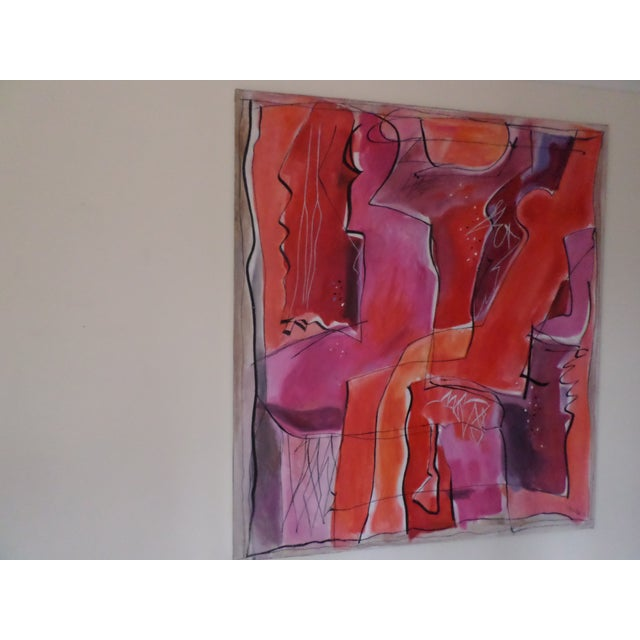 """Abstract Oil on Canvas by May Bender, """"Red Intrinsic"""" '98 For Sale - Image 13 of 13"""