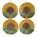 "Image of Vintage Bordallo Pinheira Portugal Majolica 8"" Sunflower Dessert or Salad Plates~Set of 4 For Sale"