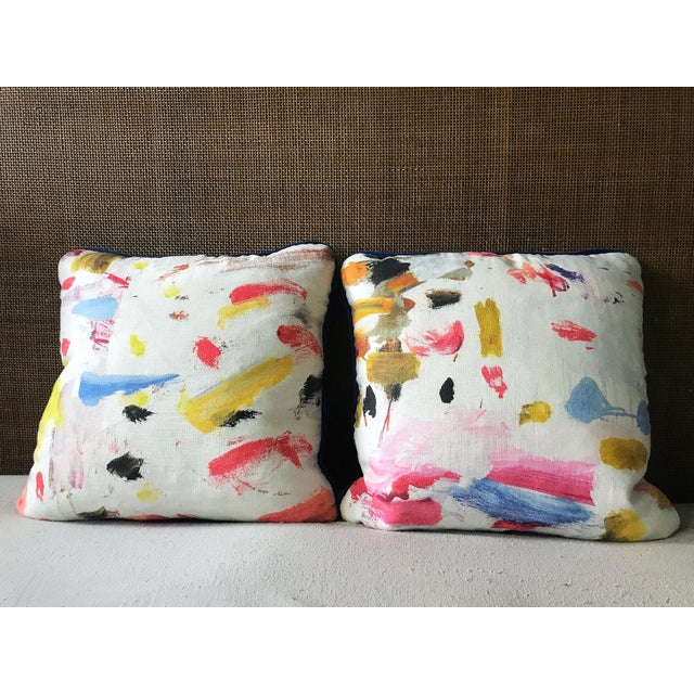 Custom made pillows covers featuring the 100% linen Pierre Frey Arty print fabric backed with cobalt blue, Kravet...