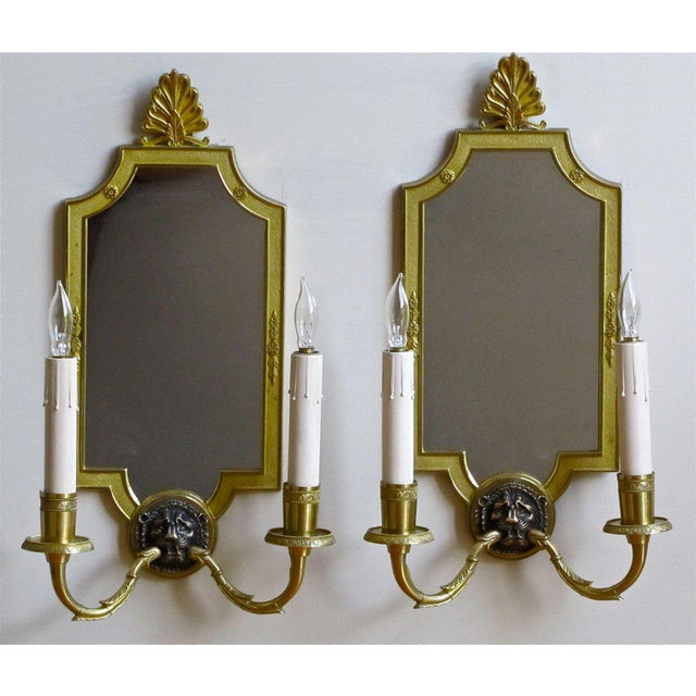 1940s 1940s French Brass Mirrored Lion Wall Sconces - a Pair For Sale - Image 5 of 11