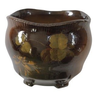 Vintage Brown Ceramic Footed Planter Cachepot Jardiniere With Leaves and Flowers For Sale