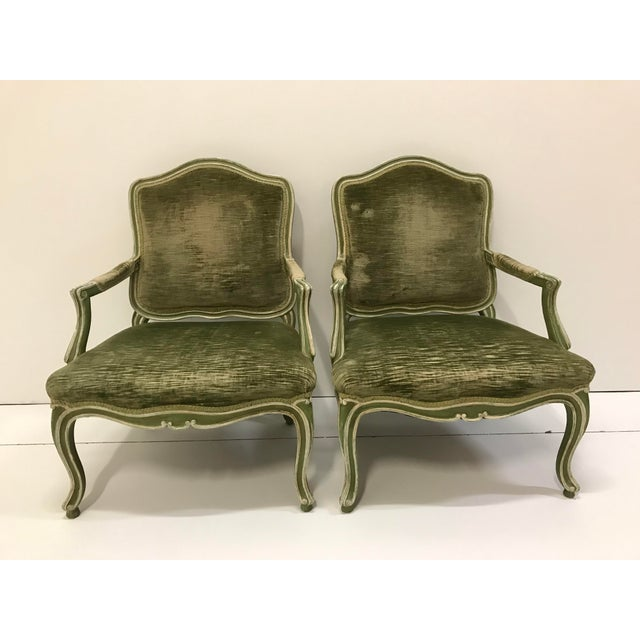 Green Vintage Louis XV Revival Green Velvet Bergere Chairs Cabriole Leg Scroll Foot Painted Mahogany Country French - a Pair For Sale - Image 8 of 8
