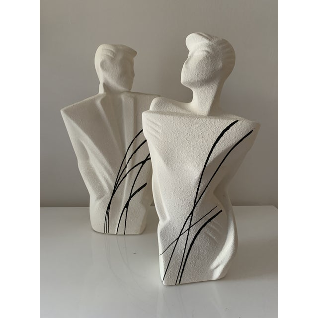 """Figurative 1980's """"New Wave"""" Figurative Ceramic Sculptures - a Pair For Sale - Image 3 of 8"""