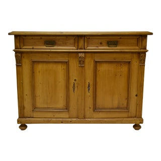 Pine Two Door Dresser Base with Interior Drawers