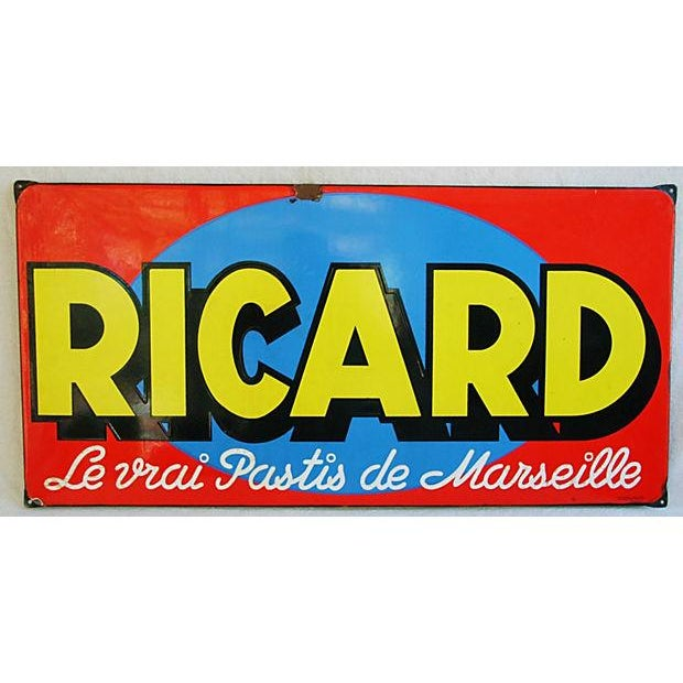 1950 French Porcelain Ricard Anisette Liqueur Sign - Image 2 of 7