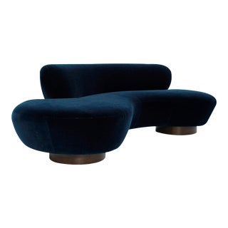 Mohair Cloud Sofa on Walnut Bases by Vladimir Kagan for Directional For Sale