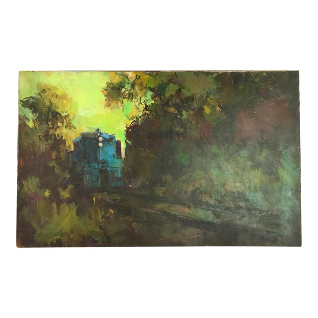 Mid-Century Oil Painting - Blue Train - Image 1 of 8