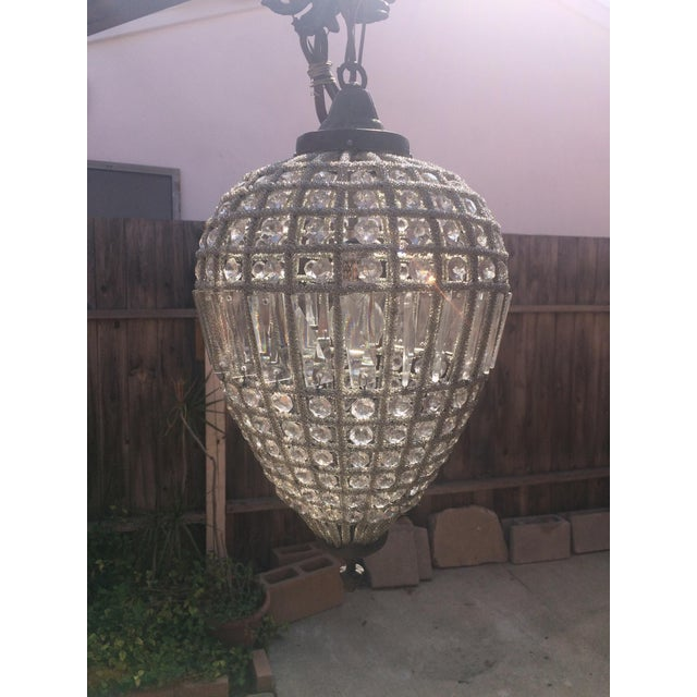 Small French Beaded Teardrop Chandelier For Sale - Image 5 of 5