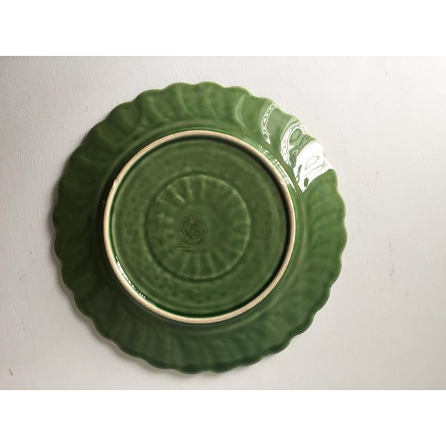Ceramic 6 Green Majolica Basket Weave Dishes-Bordallo Pinheiro For Sale - Image 7 of 10