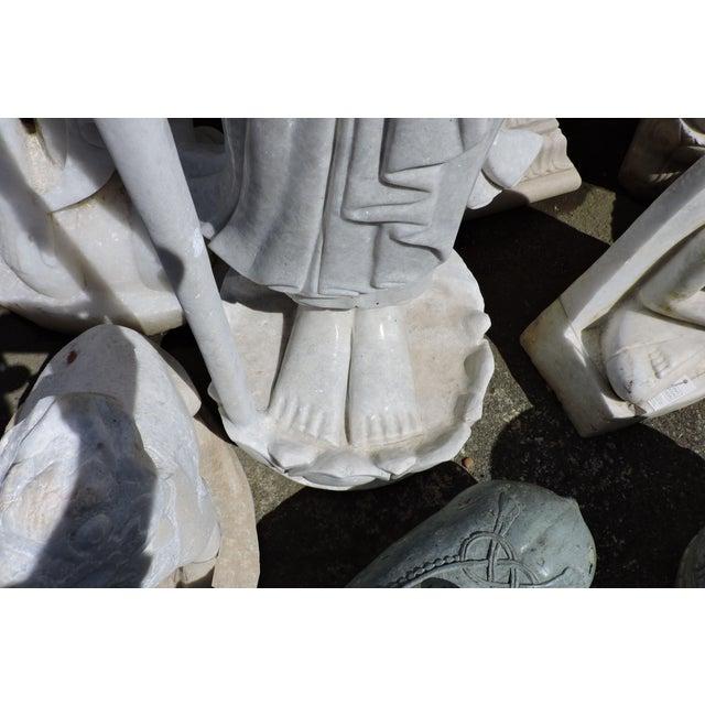 Alabaster Solid White Alabaster Burmese Traveling Monk For Sale - Image 7 of 8