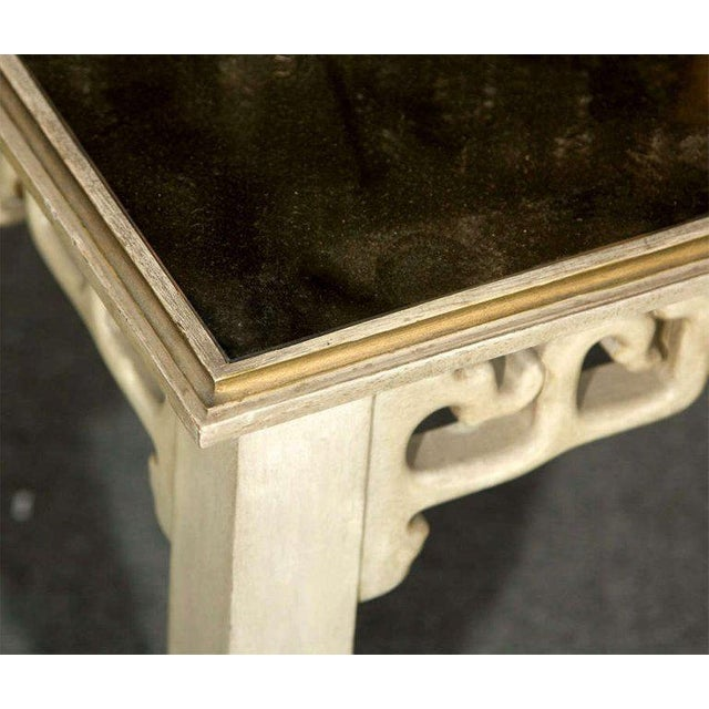 Maison Jansen Distressed Mirror Glass Top Squared Asian Style End Tables Stamped Jansen, Pair For Sale - Image 4 of 13