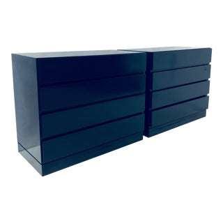 Pair of Navy Lacquered Modern Chests For Sale