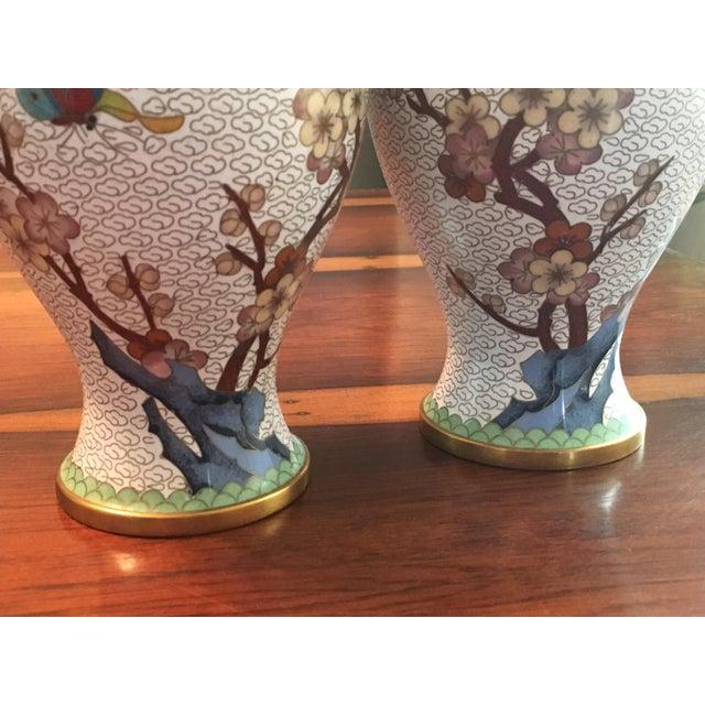 Pair of Chinese Cloisonne Enamel Ginger Jar Vases - Image 8 of 11