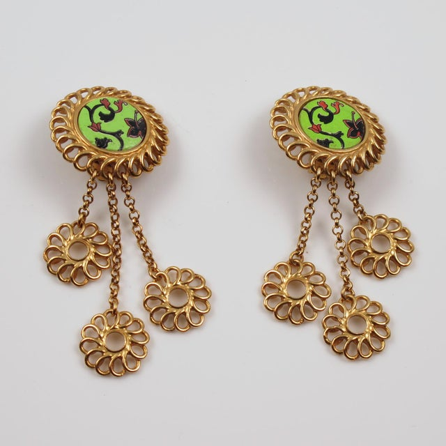 Contemporary Kenzo Paris Drop Dangling Floral Gilt Metal With Ceramic Clip on Earrings For Sale - Image 3 of 8