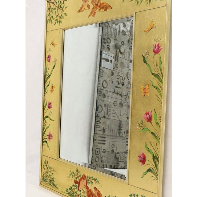 Reverse Painted Gold Leaf Rectangular Frame Decorative Mirro For Sale - Image 12 of 13