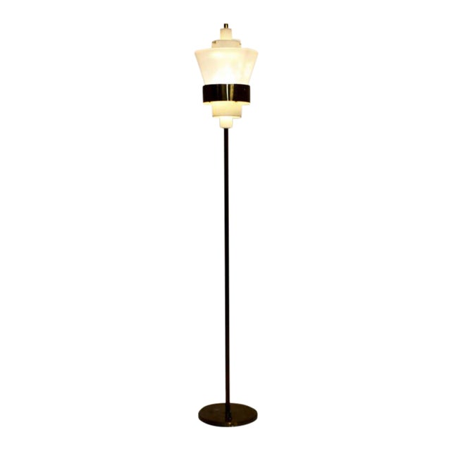 Stilnovo Floor Lamp in Brass and Lucite, Italy, Circa 1950s For Sale